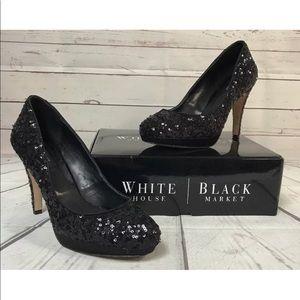 White House Black Market Black Sequin Heels 9.5